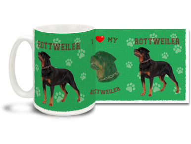Love your Rottweiler? You'll love this Rottweiler Coffee mug! Rottweiler mug is dishwasher and microwave safe.