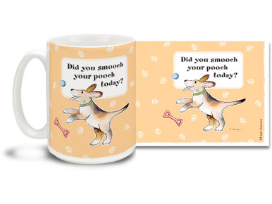 Did you smooch your pooch today? Kiss that cold nose, then have some hot coffee in this Cartoon dog mug. Handy reminder 15oz cartoon dog coffee mug is dishwasher and microwave safe.
