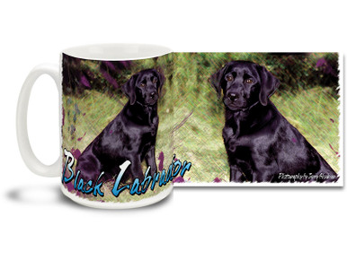 If you love your Black Labrador Retriever, you'll love this Artsy Black Lab coffee mug! Colorful 15oz Black Lab mug is dishwasher and microwave safe.