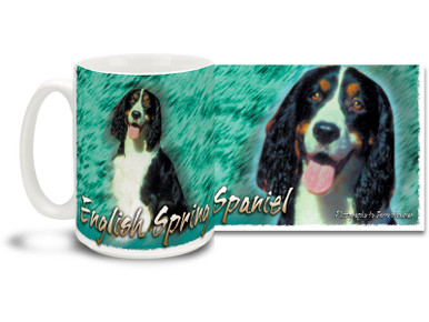 If you love your English Springer Spaniel, you'll love this Artsy English Springer Spaniel coffee mug! Colorful 15oz English Springer Spaniel mug is dishwasher and microwave safe.