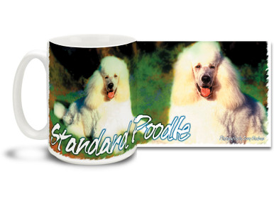 If you love Poodles, you'll love this Artsy Standard Poodle coffee mug! Colorful 15oz Standard Poodle mug is dishwasher and microwave safe.