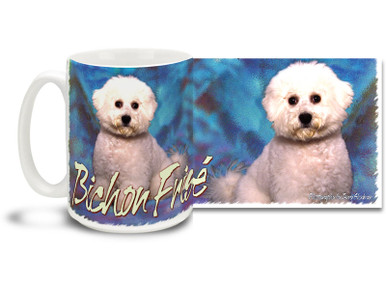 If you love your Bichon Frise, you'll love this Artsy Bichon Frise coffee mug! Colorful 15oz Bichon Frise mug is dishwasher and microwave safe.