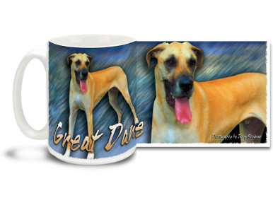 If you love your Great Dane, you'll love this Artsy Great Dane coffee mug! Colorful 15oz Great Dane mug is dishwasher and microwave safe.