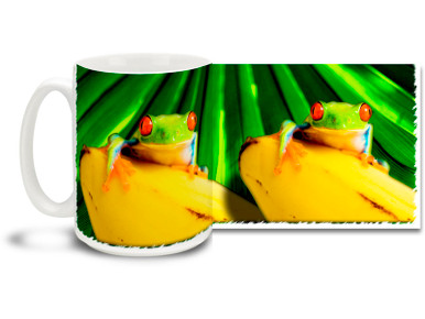 Tropical Red-Eyed Tree Frogs climb and hop wherever they can, even on banana trees. Enjoy some frog-themed fun with this Red-Eyed Tree Frog Coffee Mug. Red-Eyed Tree Frog Mug is dishwasher and microwave safe and this cute frog mug holds 15oz. of your favorite coffee.