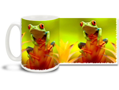 Red-Eyed Tree Frogs are popular pets and fun to look at! This Red-Eyed Tree Frog Coffee Mug features a perky amphibian perched on a beautiful tropical bromeliad. Colorful Red-Eyed Tree Frog Mug is dishwasher and microwave safe and this cute frog mug holds 15oz. of your favorite coffee.