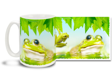 Warm summer days wouldn't be the same without the familiar, distant sound of croaking frogs! This Green Frog Coffee Mug features a contented fellow enjoying a cool swim. Cool Green Frog Mug is dishwasher and microwave safe and this fun frog mug holds 15oz. of your favorite coffee.