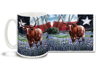They just make things bigger in Texas! Show some Longhorn pride with this Texas Born Texas Bred Flag and Longhorn coffee mug! Colorful Red, White and Blue Texas Flag and Longhorn mug is dishwasher and microwave safe and is sure to be a favorite!