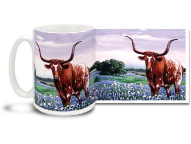 We just don't know which is more beautiful, the bluebonnets or the great big longhorn! Show some Longhorn pride with this Texas Pride Longhorn coffee mug! Colorful Bluebonnets and Longhorn Texas mug is dishwasher and microwave safe and is sure to be a favorite!