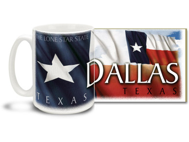 Deep in the heart of Texas lies Dallas, a bustling metropolis with it's fair share of Cowboys, Rangers, Mavericks and even a few sports teams! The 9th largest city in America, Dallas is a world unto itself! Show 'em the city you love with a Dallas coffee mug! Colorful Texas Flag makes this Dallas mug sure to be a favorite!