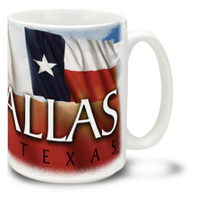 Dallas with Texas Flag - 15oz Mug