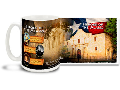 Featuring Davy Crockett, William Barrett Travis and Jim Bowie as well as The Spirit of Sacrifice aka The Alamo Cenotaph, this Heroes of the Alamo coffee mug celebrates a rich history and noble spirit. This colorful Heroes of the Texas Alamo mug is sure to be a favorite!