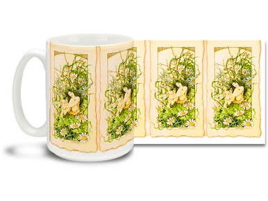 Fairy in a Daisypatch mug features a cute winged fairy among the daisies with Art Nouveau stylings! With warm spring colors, Fairy in a Daisypatch coffee mug is dishwasher and microwave safe and sure to be a favorite!