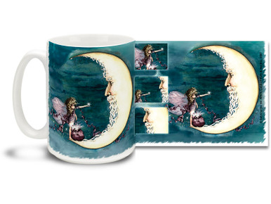 A cute fairy gives the Moon a gift of a star on this charming Moon Fairy mug! With vivid blue watercolor lines, For You Moon Fairy coffee mug is dishwasher and microwave safe and sure to be a favorite!