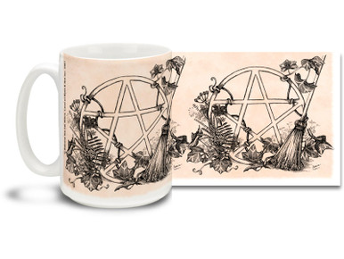 Add some light to your morning with this White Magic Pentagram mug featuring the natural elements of Mother Nature! White Magic Pentagram coffee mug is dishwasher and microwave safe and sure to be a favorite!