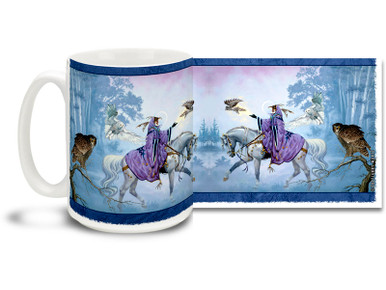 Take a magical adventure with this Wizard and Owls mug featuring a powerful sorcerer on a white horse with many owl companions! Wizard and Owls coffee mug is dishwasher and microwave safe and sure to be a favorite.