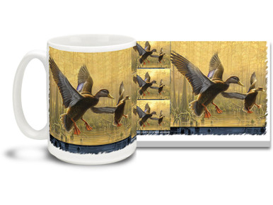Sunset is a great time to come in for a landing, and these ducks are on their way to their nighttime nesting grounds! Colorful 15oz Flying Ducks coffee mug is dishwasher and microwave safe.