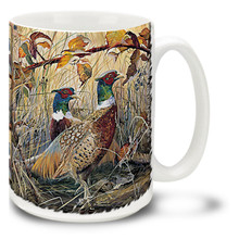 Red On Gold Pheasants - 15oz Mug
