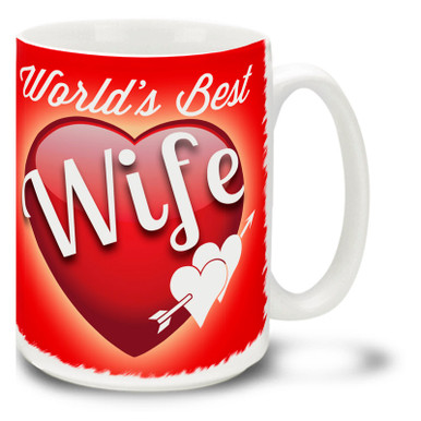 Show her she's the best with a World's Best Wife coffee mug! Vivid red colors and happy plump heart on this 15 oz World's Best Wife mug will make this dishwasher and microwave safe coffee cup a morning favorite!