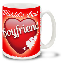 Show him he's the best with a World's Best Boyfriend coffee mug! Vivid red colors and happy plump heart on this 15 oz World's Best Boyfriend mug will make this dishwasher and microwave safe coffee cup a morning favorite!