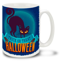 Halloween Trick or Treat Black Cat  - 15oz Mug