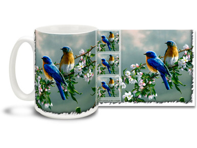 Enjoy a happy morning with this Spring Bluebirds mug! Warm colors 15oz Spring Bluebirds coffee mug is dishwasher and microwave safe.
