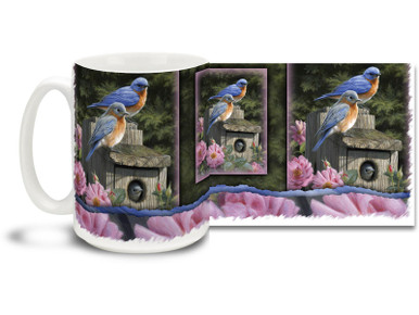 Warm up with this brightly colored Garden Bluebirds Mug! With strong pinks and blues, 15oz Garden Bluebirds coffee mug is dishwasher and microwave safe.