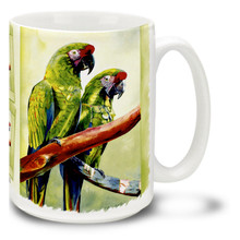 Feathery Friends Green Macaws - 15oz Mug