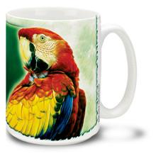 Macaw on Green Background - 15oz Mug