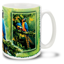 Blue and Gold Macaws on a Limb - 15oz Mug