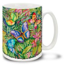 Vivid Watercolor Tropical Butterflies - 15oz Mug