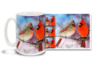 Whether it's the Christmas season or anytime, these loving Red Cardinals add nothing but warmth to this Cardinal Mug! Wintry cool and fiery reds, 15 oz Winter's Cardinal Couple coffee mug is dishwasher and microwave safe.
