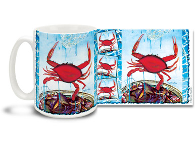 Feeling a little crabby? That's a good thing, if you're holding this coastal favorite Red Crab mug! With vivid reds and blues and a nautical flair, 15 oz Red Crab coffee mug is dishwasher and microwave safe.