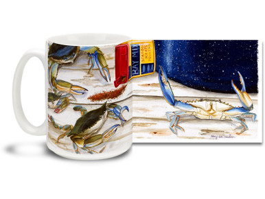 Get a little crabby with this Bay Seasoning Blue Crab mug! With vivid colors and a nautical flair, 15 oz Bay Seasoning Blue Crab coffee mug is dishwasher and microwave safe.