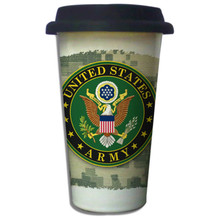 United States Army Crest on ACU - 11oz. Insulated Ceramic Travel Mug