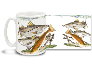 Get the most of out your salt water lifestyle with this fishing themed West Coast Slam mug! Featuring snook, trout and redfish, 15 oz West Coast Slam fishing coffee mug is dishwasher and microwave safe. By world renowned salt and freshwater fishing artist Joe Suroviec.