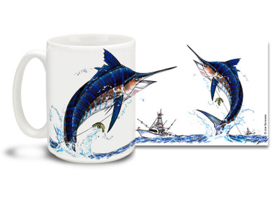 Get into the deep sea spirit with this fishing themed Marlin mug! The Marlin is a game fishing favorite and can put up a fight that lasts for hours! 15 oz Marlin fishing coffee mug is dishwasher and microwave safe. By world renowned salt and freshwater fishing artist Joe Suroviec.
