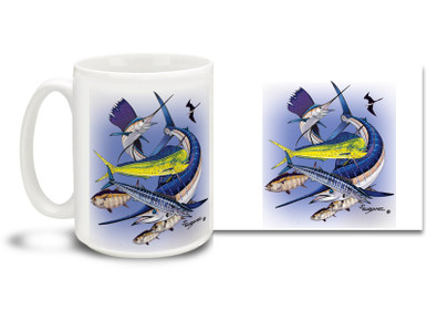 Get into the deep sea spirit with this salt water fishing themed mug featuring sport fishing favorites! Sailfish, Marlin, Ahi Tuna, Mahi Mahi and Barracuda make this mug a handful! 15 oz Saltwater Fishing Favorites Offshore Slam coffee mug is dishwasher and microwave safe. By world renowned salt and freshwater fishing artist Joe Suroviec.