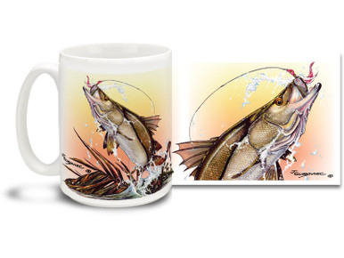 Get into the salt water spirit with a lightning fast strike from a mighty snook! A prize catch and good eating, snook are widespread throughout the tropical waters of the western Atlantic Ocean from the coast of the North Carolina to Brazil including the Gulf of Mexico and the Caribbean Sea! 15 oz Saltwater Fishing Favorites Snook, Line and Sinker coffee mug is dishwasher and microwave safe. By world renowned salt and freshwater fishing artist Joe Suroviec.