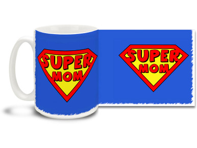We all know Mom's secret superpower is simply being mom - and nobody can beat that! Great gift for Mother's Day or anytime you want to let your mom know she's special. Supermom shield logo and super blue background on this 15 oz Super Mom mug will make this dishwasher and microwave safe coffee cup a morning favorite and let mom know she's your hero!