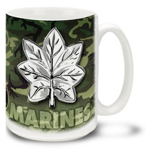 This Marine Corps mug features your officer rank insignia on either MCU Camo or classic Woodland Camo. USMC Officer Rank Mug is dishwasher and microwave safe and features USMC emblem. Your Marines rank mug is sure to be a coffee break favorite!