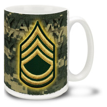 U.S. Army Enlisted Ranks mug - Choose Your Rank and either Woodland Camo or Digital Camo background. This United States Army mug features your rank insignia on either ACU Digital Camo or classic Woodland Camo. Cuppa's Army Rank Mug is dishwasher and microwave safe and features the Army Emblem. Your U.S. Army rank mug is sure to be a coffee break favorite!
