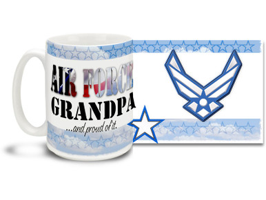 Show your pride in your United States Air Force grandchild with this colorful Air Force Grandpa and Proud coffee mug. U.S. Air Force mug also makes a great gift for your proud Grandfather! 15oz Air Force Grandpa Coffee Mug is dishwasher and microwave safe.