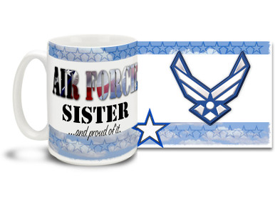 Show your pride in your United States Air Force brother or sister with this colorful Air Force Sister and Proud coffee mug. U.S. Air Force mug also makes a great gift for your proud Sis or Bro! 15oz Air Force Sister Coffee Mug is dishwasher and microwave safe.