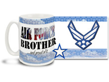 Show your pride in your United States Air Force brother or sister with this colorful Air Force Brother and Proud coffee mug. U.S. Air Force mug also makes a great gift for your proud Sis or Bro! 15oz Air Force Brother Coffee Mug is dishwasher and microwave safe.