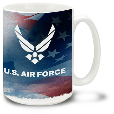 Show your pride in the United States Air Force with this Air Force approved emblem USAF Mug. 15oz Air Force Mug is dishwasher and microwave safe.