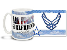 Show your pride in your United States Air Force boyfriend with this colorful Air Force Girlfriend and Proud coffee mug. U.S. Air Force mug also makes a great gift for your proud lady friend! 15oz Air Force Girlfriend Coffee Mug is dishwasher and microwave safe.