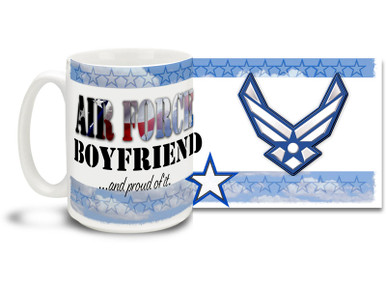 Show your pride in your United States Air Force girlfriend with this colorful Air Force Boyfriend and Proud coffee mug. U.S. Air Force mug also makes a great gift for your proud gentleman friend! 15oz Air Force Boyfriend Coffee Mug is dishwasher and microwave safe.
