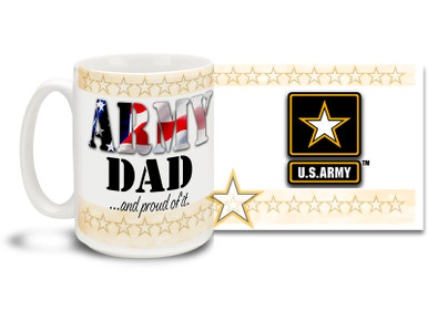 Show your pride in your United States Army Son or Daughter with this colorful Army Dad and Proud of It coffee mug. U.S. Army mug also makes a great gift for your proud father! 15 oz Army Dad Coffee Mug is dishwasher and microwave safe.