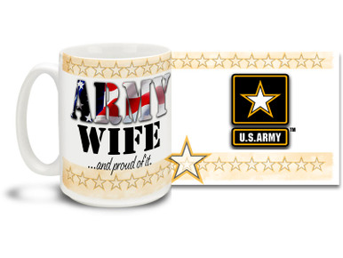 Show your pride in your United States Army Husband with this colorful Army Wife and Proud of It coffee mug. U.S. Army mug also makes a great gift for your better half! 15 oz Army Wife Coffee Mug is dishwasher and microwave safe.