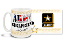 Show your pride in your United States Army Boyfriend with this colorful Army Girlfriend and Proud of It coffee mug. U.S. Army mug also makes a great gift for your best girl! 15 oz Army Girlfriend Coffee Mug is dishwasher and microwave safe.
